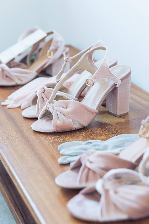 vintage pink wedding shoes gloucestershire wedding photographer