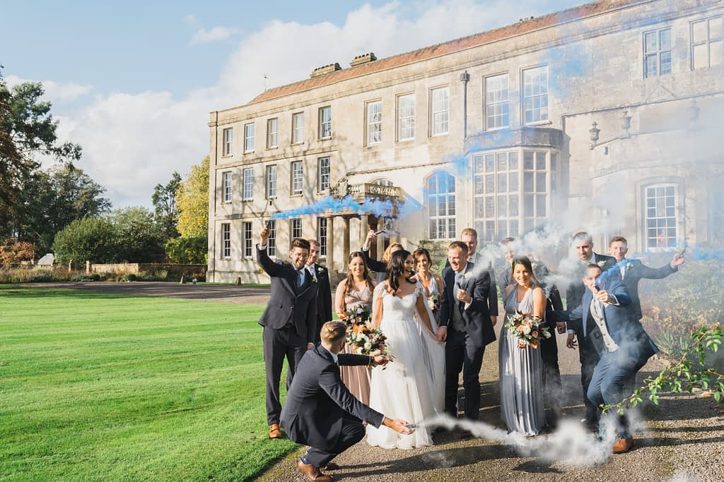 bridal party with smoke bombs Elmore court wedding photography