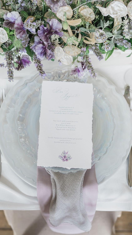lavender wedding place setting