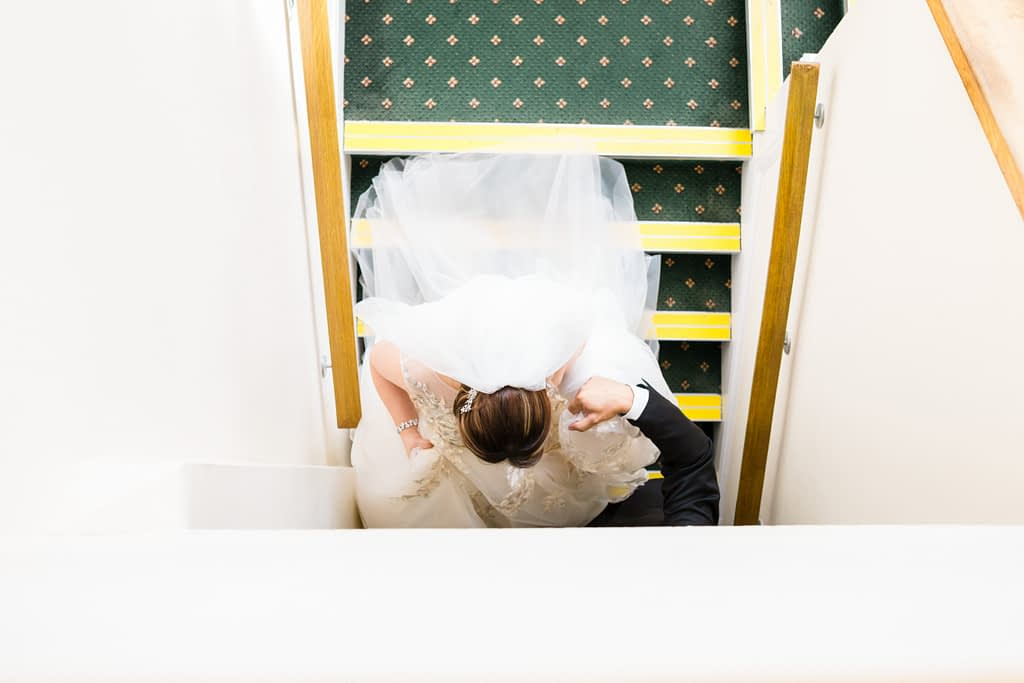 bowood hotel wedding photographer going downstairs