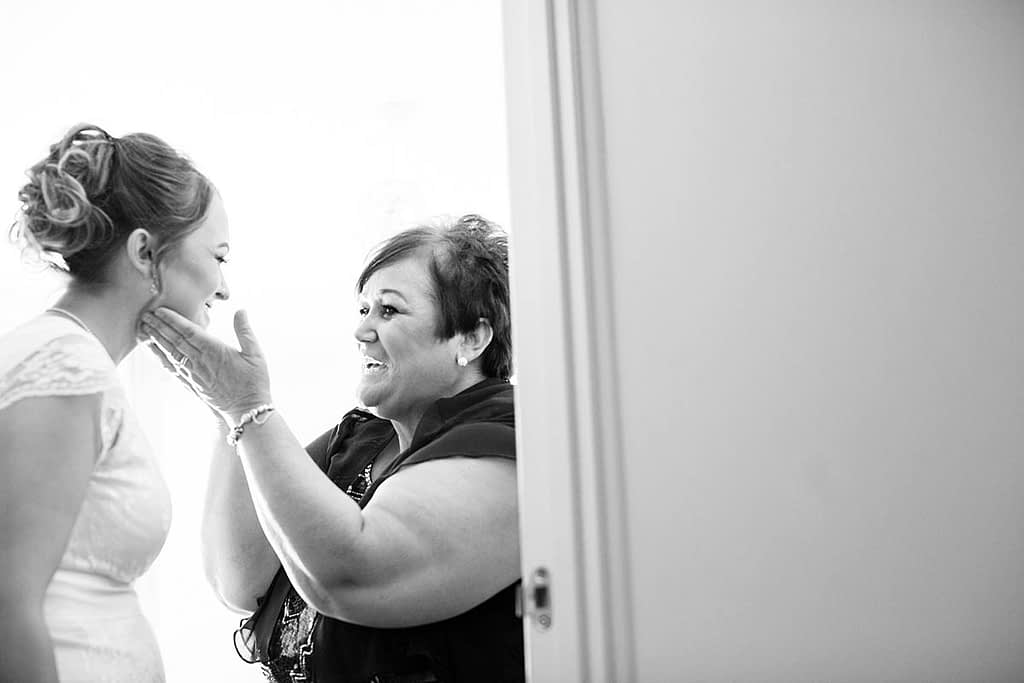 bride and mother laughing together bristol wedding
