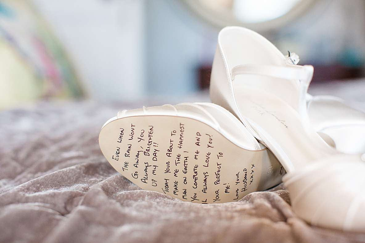 handwritten note wedding shoes gloucestershire wedding photographer