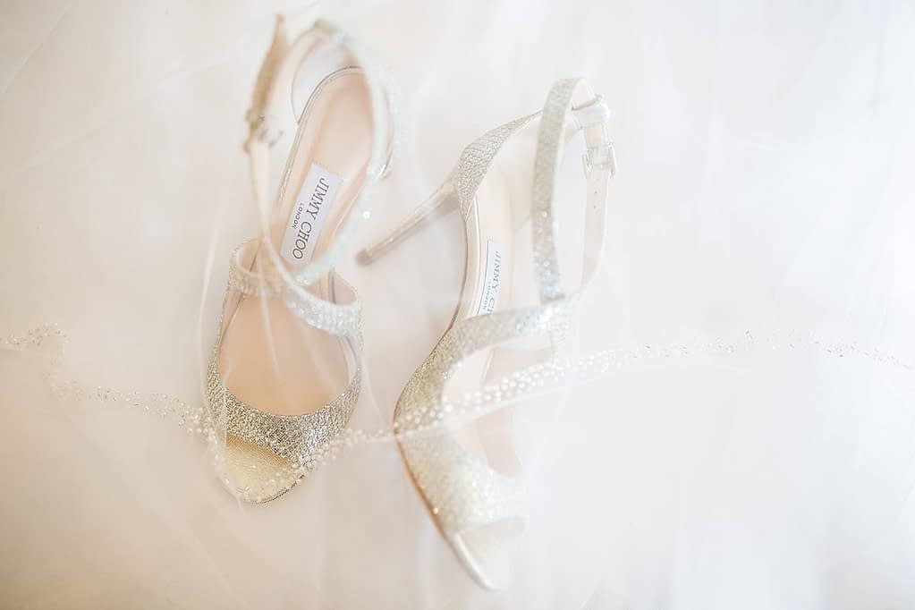 sparkling jimmy choo wedding shoes gloucestershire wedding photographer