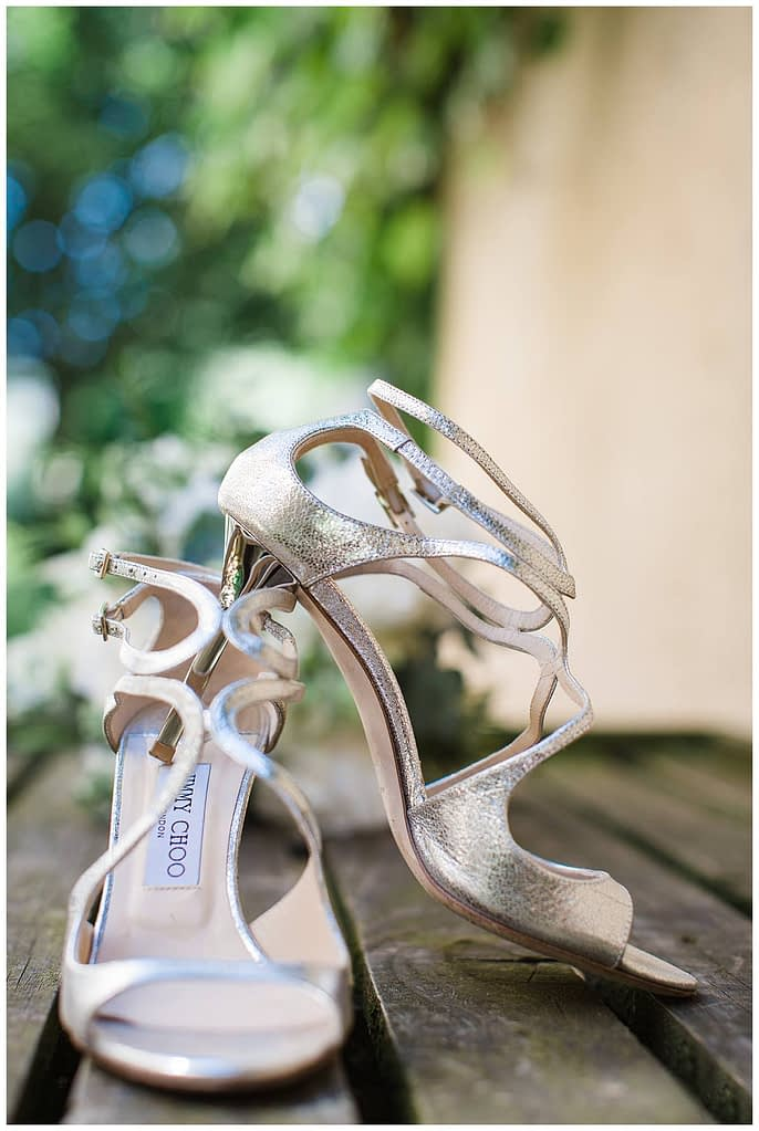 Barnsley house wedding Jimmy choo bridal shoes
