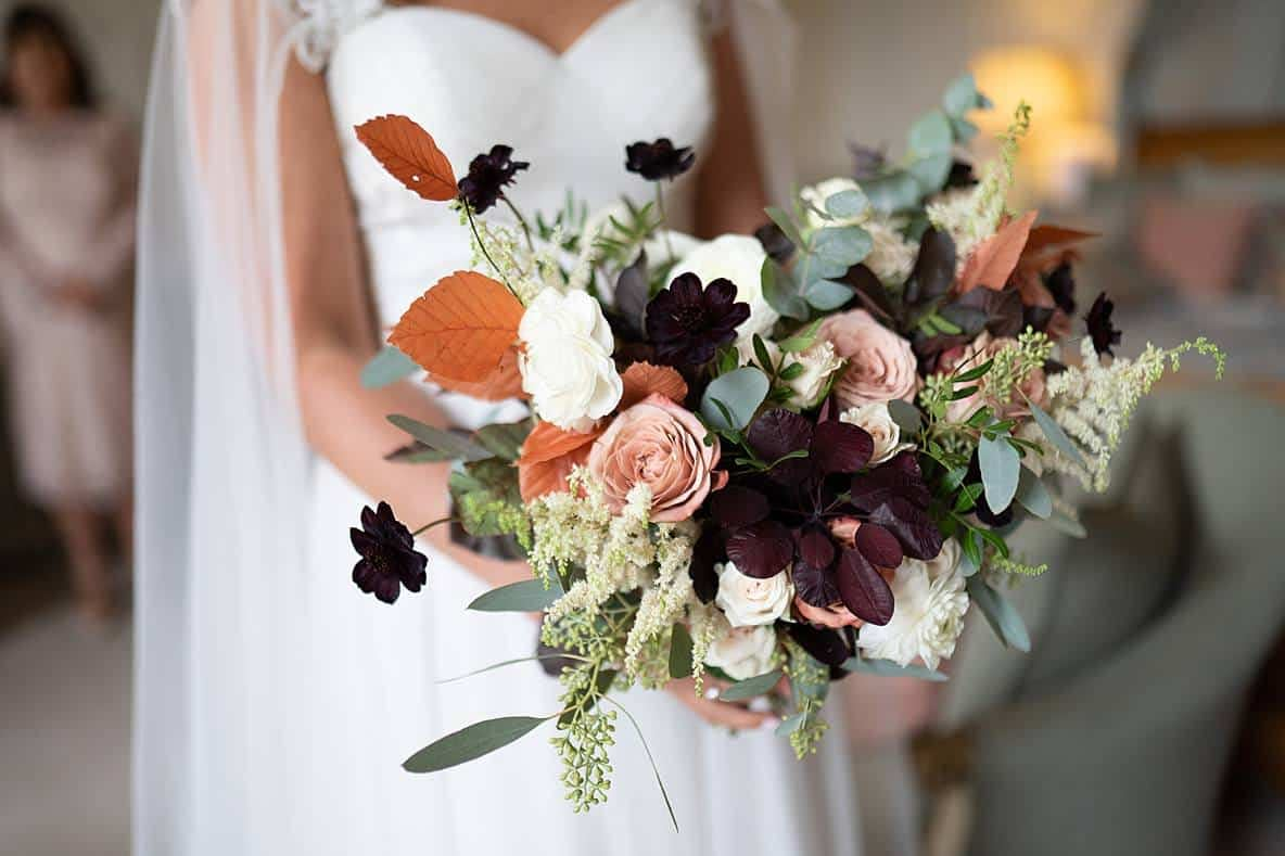 autumn bouquet gloucestershire wedding photographers Elmore Court