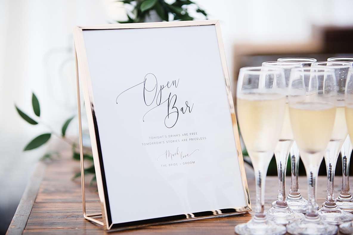 open bar sign documentary wedding photography