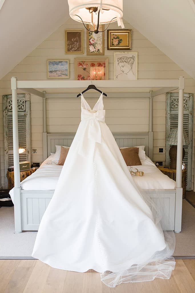 Justin Alexander wedding dress with bow