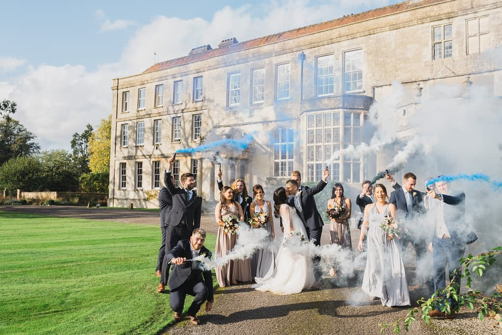 Elmore court wedding smoke bomb photography