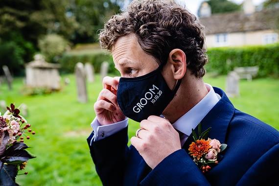 groom facemask micro wedding photographer gloucestershire