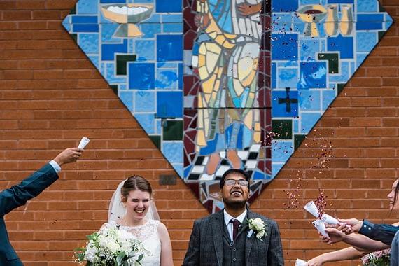 happy confetti covid micro wedding photographer gloucester