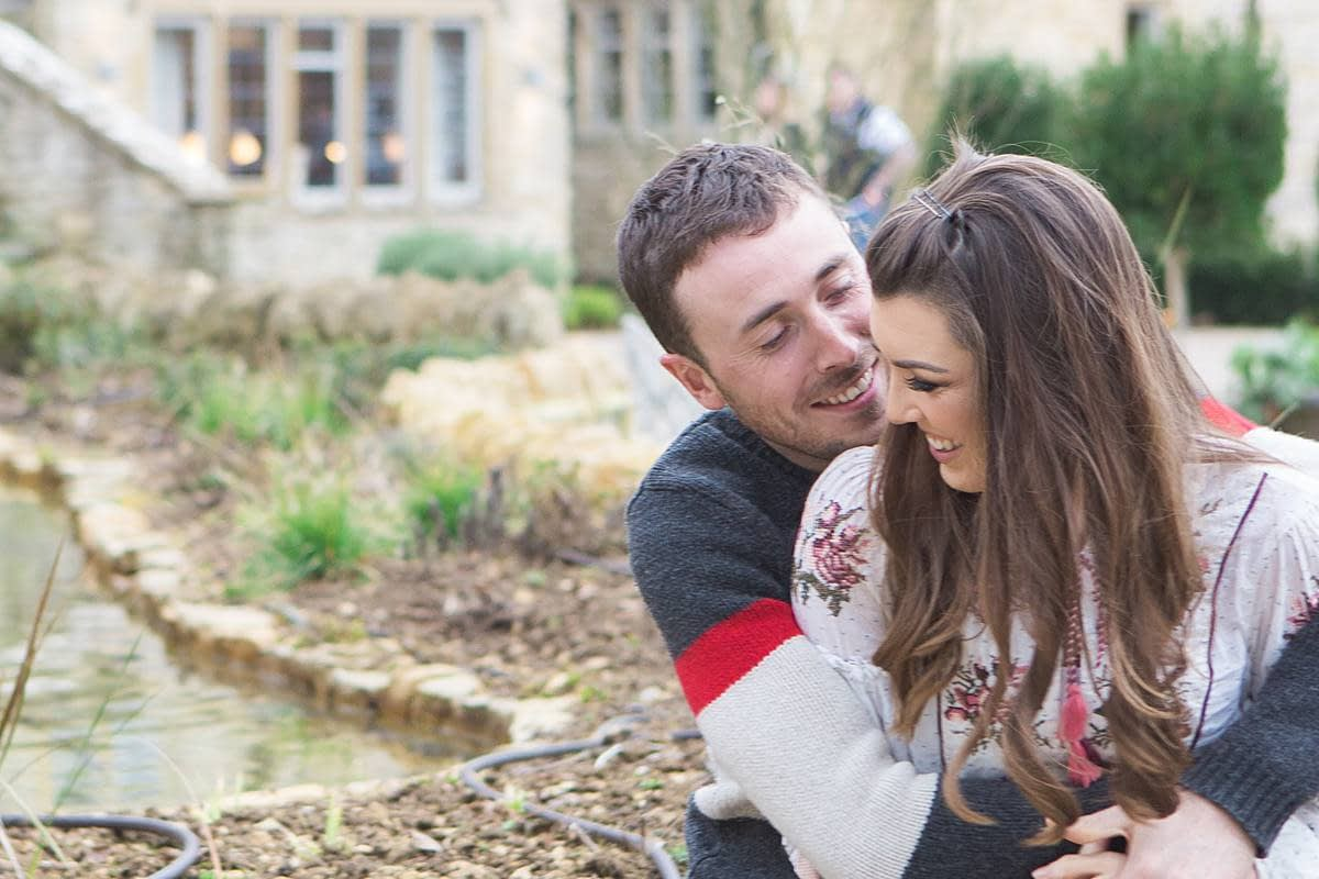 frogmill inn couple hugging engagement photography
