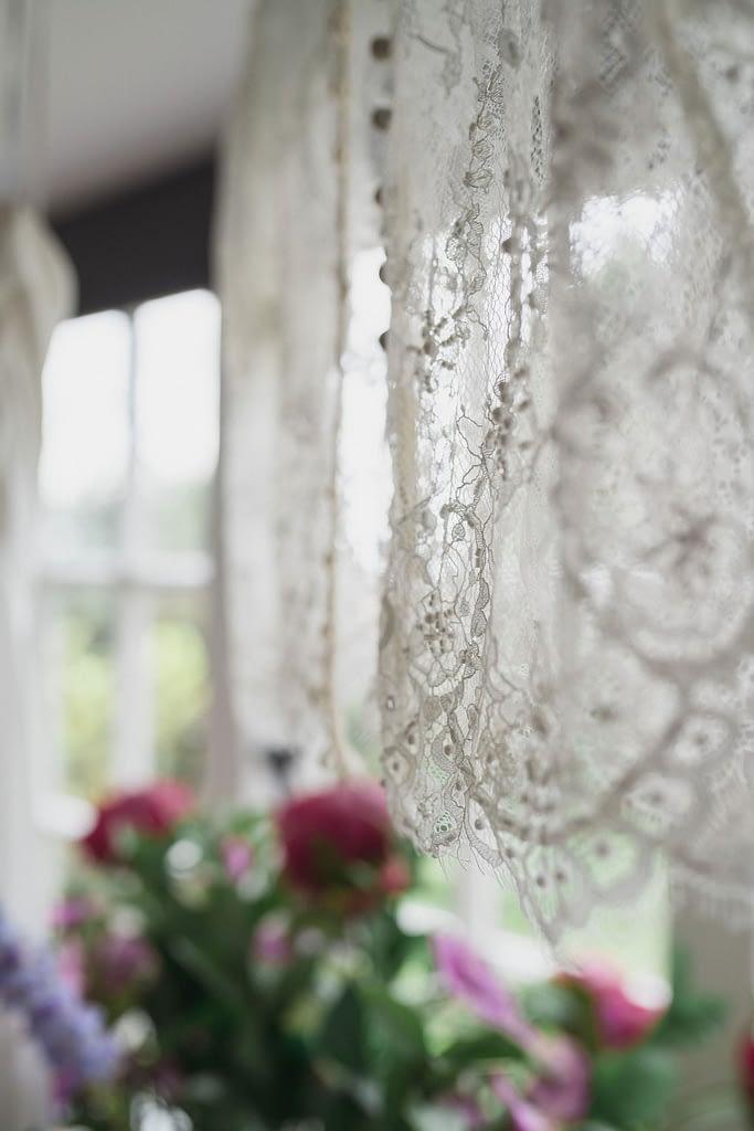 wedding dress hanging at drakestone house wedding