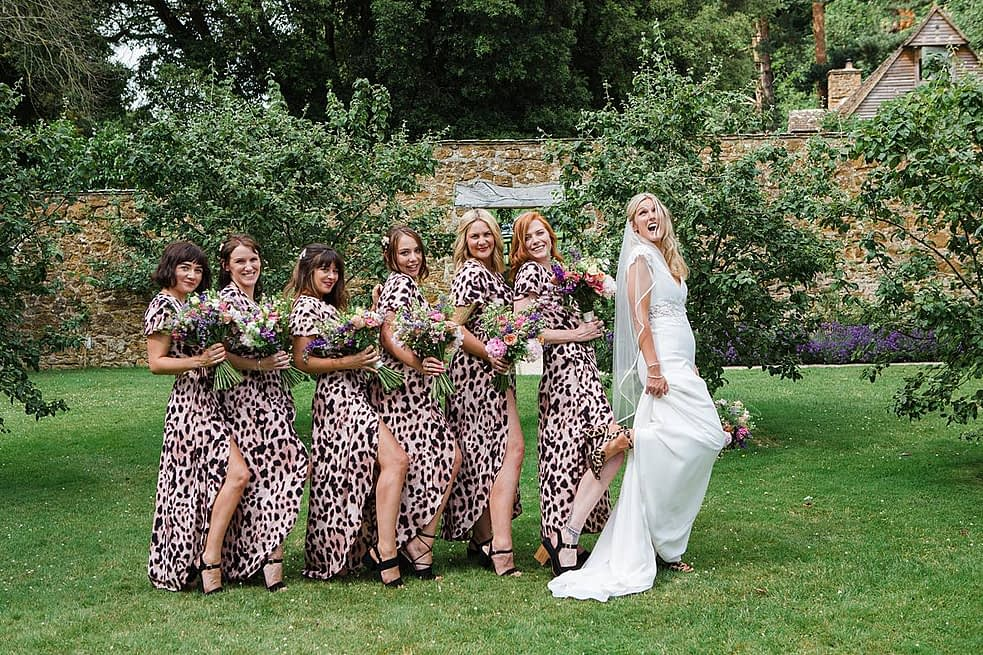 pattern bridesmaid dresses wedding shoes gloucestershire wedding photographer