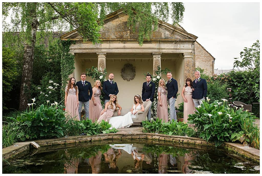 Barnsley House wedding photographer bridal party the temple