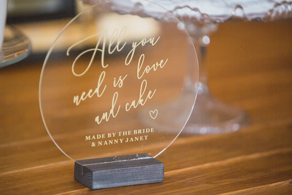 perspex all you need is love Elmore court wedding